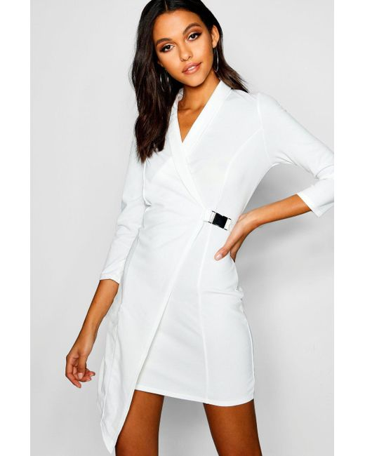 fc24181b55e3b Boohoo - White Buckle Detail Wrap Blazer Dress - Lyst ...