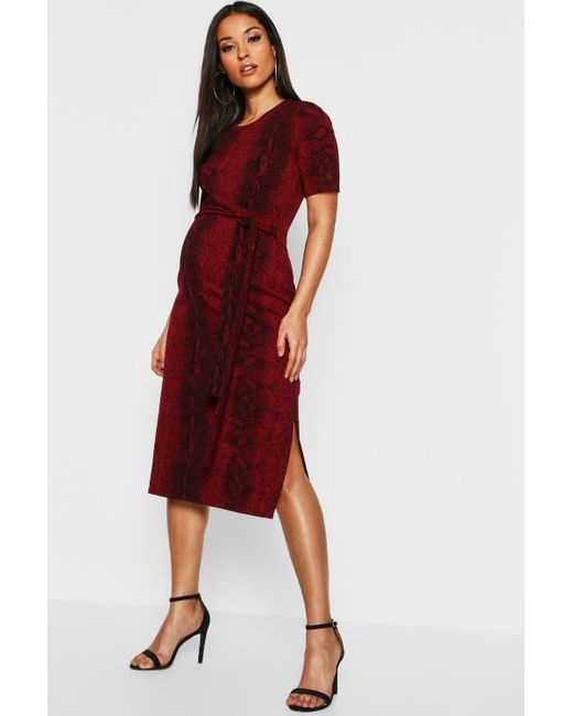 61959e5025a2 Boohoo - Red Maternity Snake Tie Front Midi Dress - Lyst ...