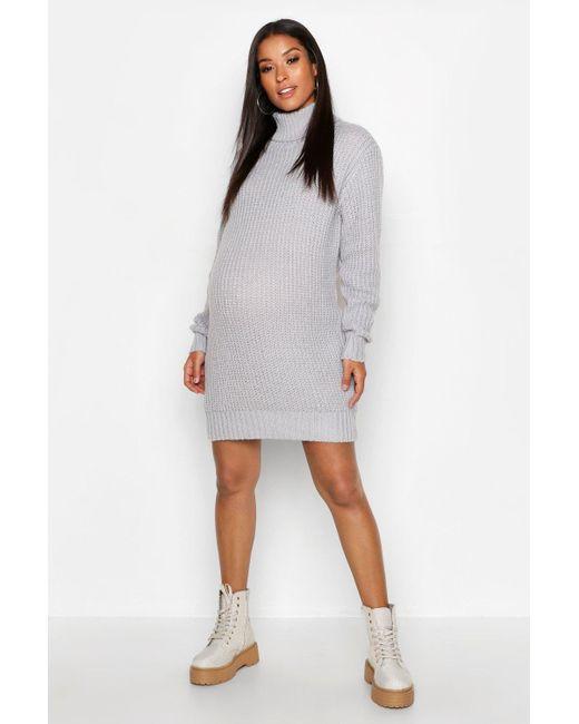 86102c3b3de Boohoo - Gray Maternity Soft Knit Roll Neck Jumper Dress - Lyst ...