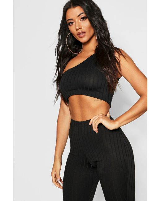 af18d45db2d444 Boohoo - Black Ribbed One Shoulder Crop Top - Lyst ...