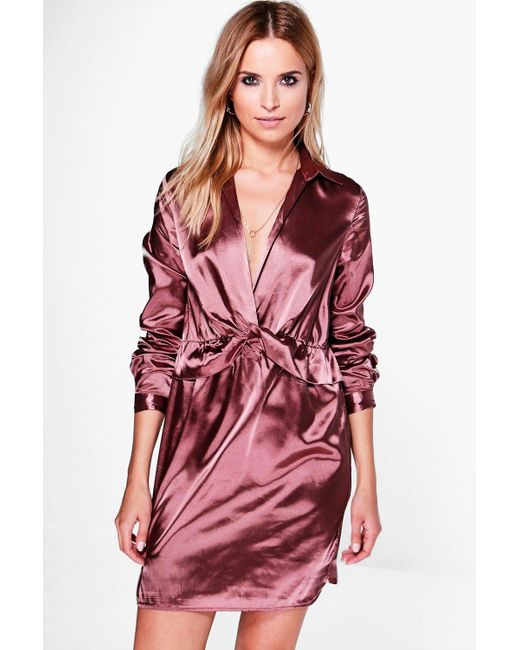 Boohoo | Multicolor Brianna Satin Knot Front Shirt Dress | Lyst