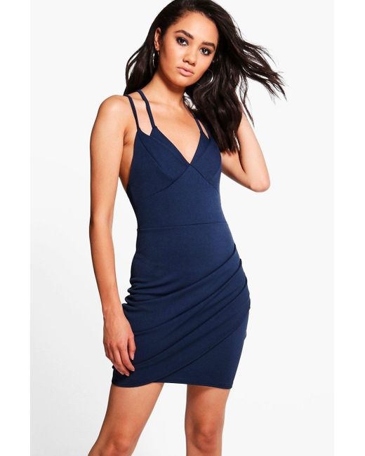 Boohoo | Blue Petite Hope Double Strap Asymmetric Bodycon Dress | Lyst