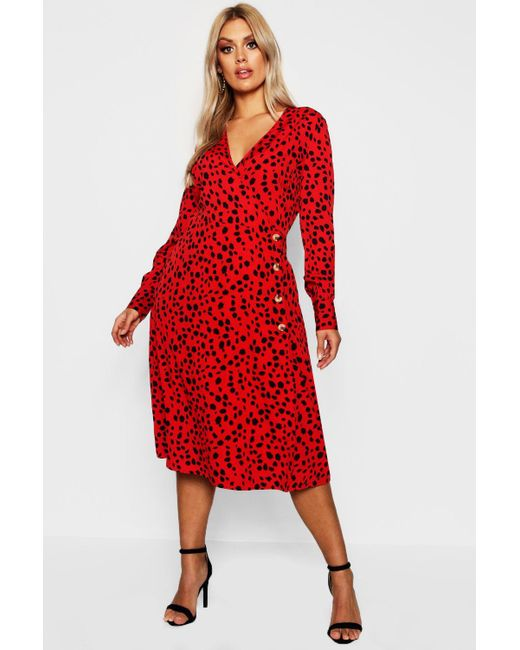 b528d6cb3d3a Boohoo - Red Plus Dalmation Horn Button Midi Dress - Lyst ...