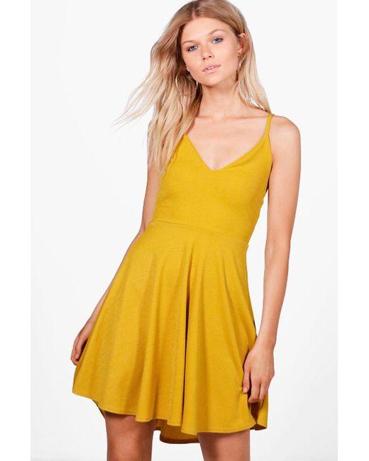 Boohoo | Yellow Petite Tilly Dip Hem Plunge Skater Dress | Lyst