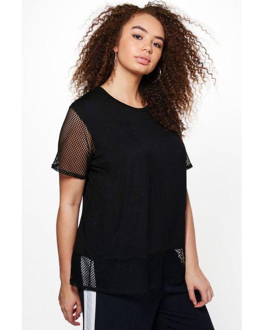 Boohoo Plus Hollie Oversized Mesh T Shirt In Black Lyst