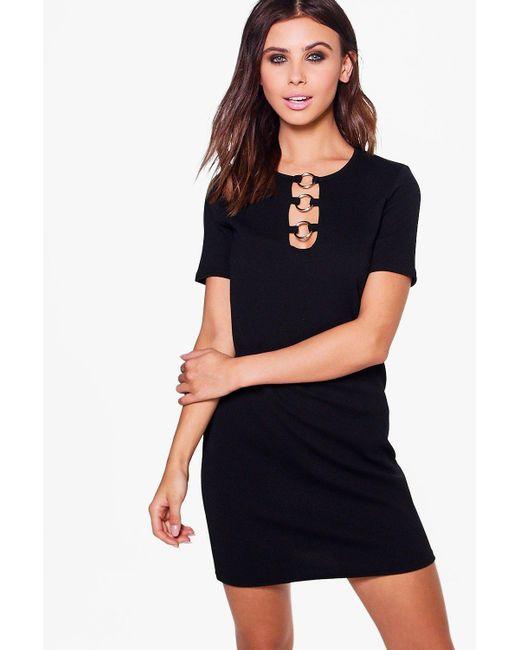 Boohoo | Black Petite Olivia Ring Detail Shift Dress | Lyst