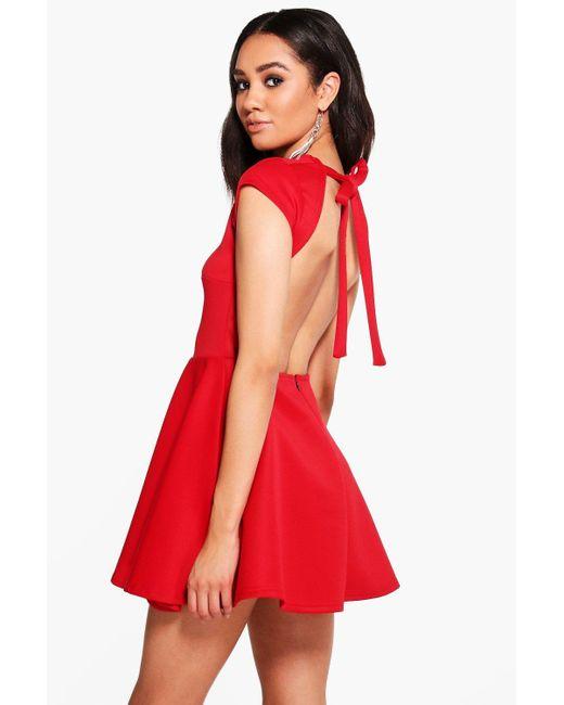 Boohoo | Red Petite Hailey Scuba Backless Skater Dress | Lyst