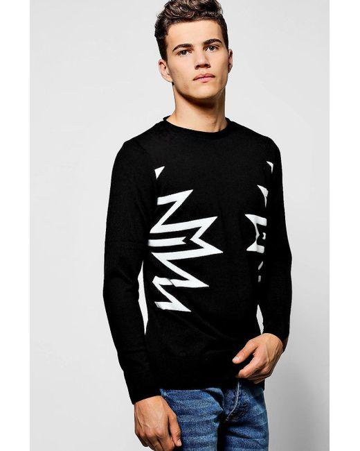 Boohoo | Black Intarsia Knit Bagel Neck Jumper for Men | Lyst