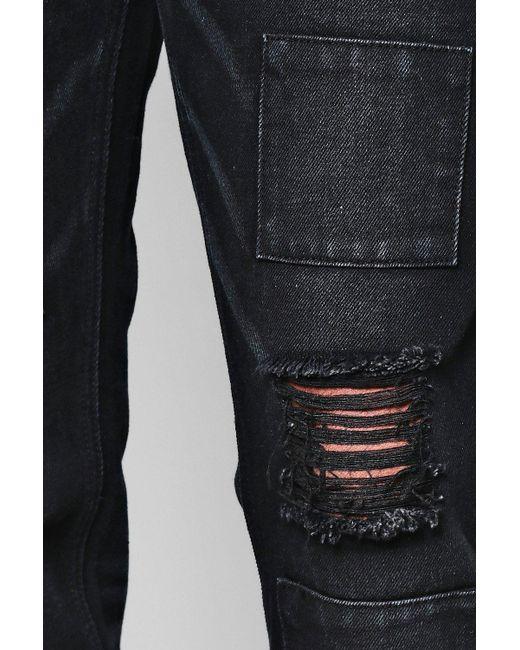 28f50a9141ffe Boohoo Black Slim Fit Patchwork Denim Jeans in Black for Men - Save ...