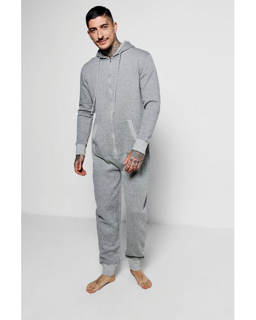Boohoo - Gray Grey Nepped Onesie for Men - Lyst