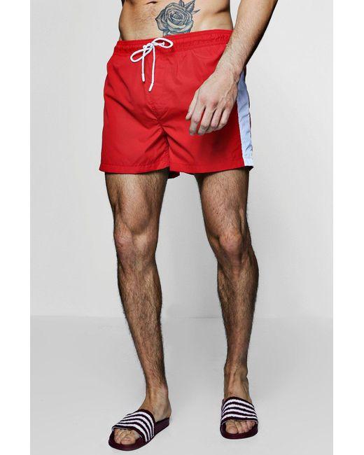3dd9eaede061e Boohoo - Red Contrast Side Stripe Swim Shorts for Men - Lyst ...