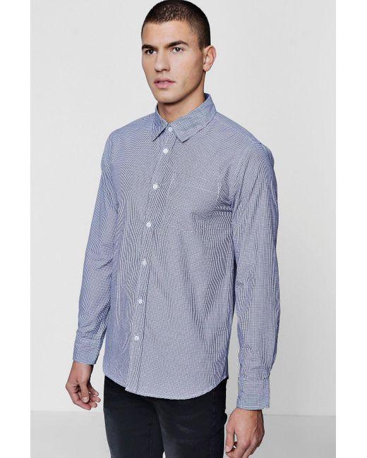 Boohoo - Black Long Sleeve Check Smart Shirt for Men - Lyst
