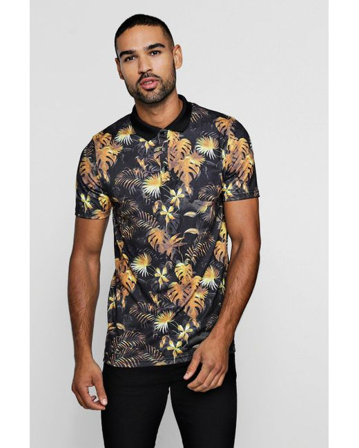 Boohoo - Black Muscle Fit Gold Floral Polo for Men - Lyst