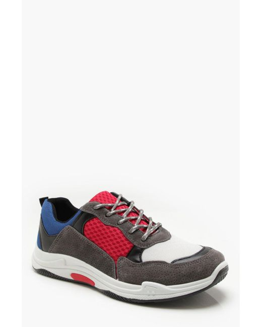 BoohooMAN - Red Faux Suede Colour Block Chunky Trainers for Men - Lyst