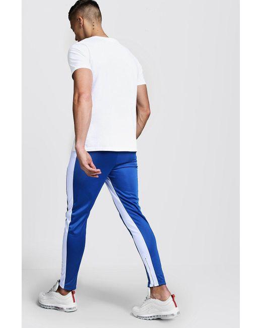 0f4560a8 ... BoohooMAN - Blue Original Man Pintuck Panelled Tricot Super Skinny  Joggers for Men - Lyst ...