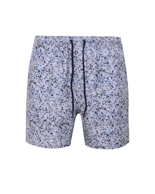 76b480387f189 ... BoohooMAN - Gray Paint Splatter Mid Length Swim Short for Men - Lyst