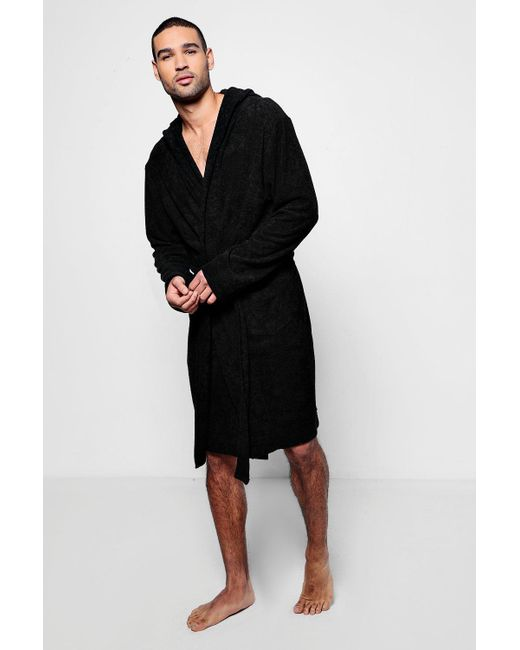 Lyst - Boohoo Black Hooded Dressing Gown In Towelling in Black for ...