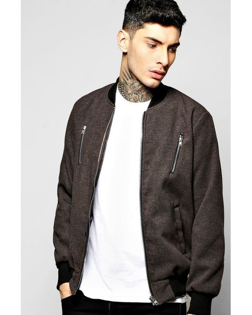 Boohoo | Gray Smart Melton Bomber Jacket With Contrast Zip Detail for Men | Lyst