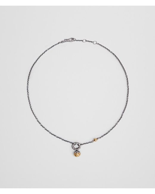 Bottega Veneta - Metallic Antique Silver/yellow Gold Patina Dichotomy Necklace - Lyst