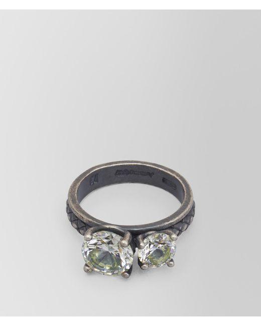 Bottega Veneta - Metallic Chamomile Cubic Zirconia/oxidized Silver Ring - Lyst