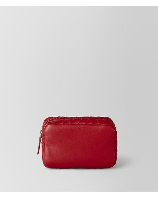 Bottega Veneta - China Red Intrecciato Nappa Cosmetic Case - Lyst