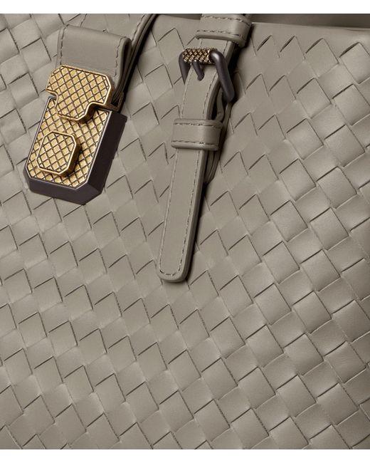 a2d255ed7e22 ... Bottega Veneta - Multicolor Dark Cement Intrecciato Calf Roma Bag -  Lyst ...