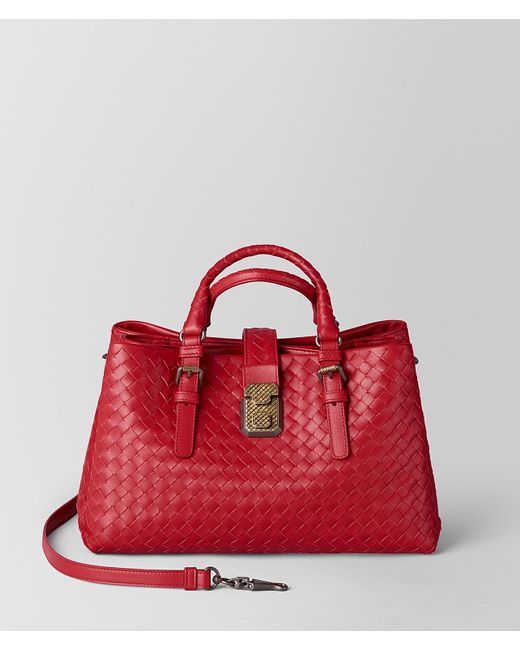 Bottega Veneta - China Red Intrecciato Calf Roma Bag - Lyst