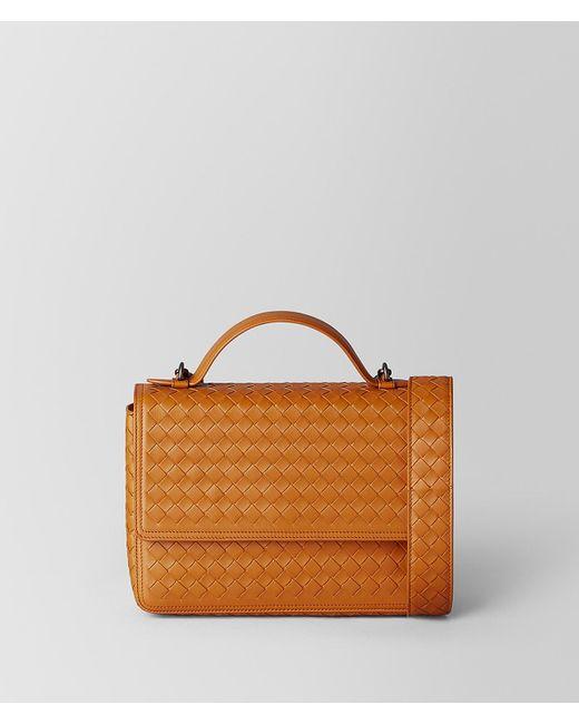 f1bb45e5d2 Bottega Veneta - Orange Nero Intrecciato Nappa Alumna Bag - Lyst ...
