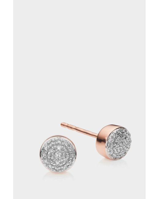 Monica Vinader - Metallic Rose Gold Vermeil Fiji Mini Button Stud Earrings, Os - Lyst
