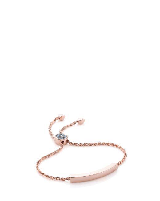 Monica Vinader | Rp Linear Evil Eye Toggle Bracelet - Blue & White Diamonds - Diamond | Lyst