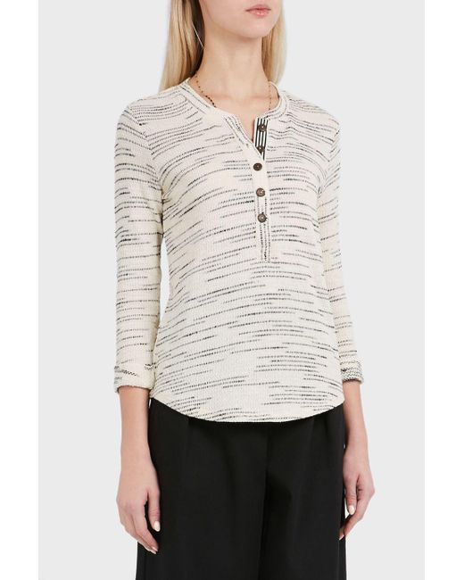 Splendid | Multicolor Henley Ribbed Cotton-blend Top | Lyst