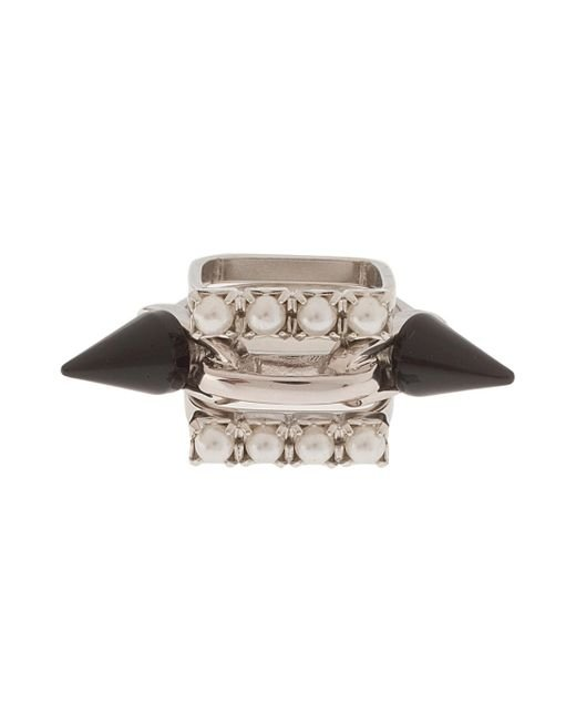 Joomi Lim | Metallic Set Of 3 Crystal & Spike Ring | Lyst