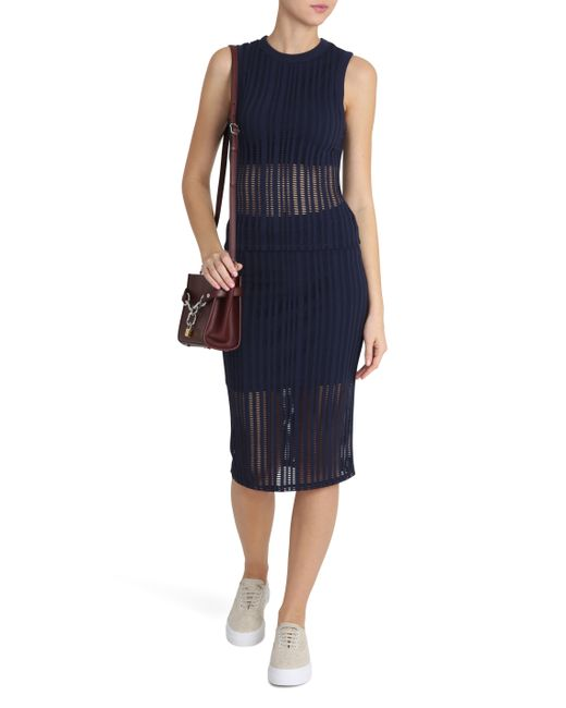 t by wang jacquard fitted maxi skirt in blue lyst