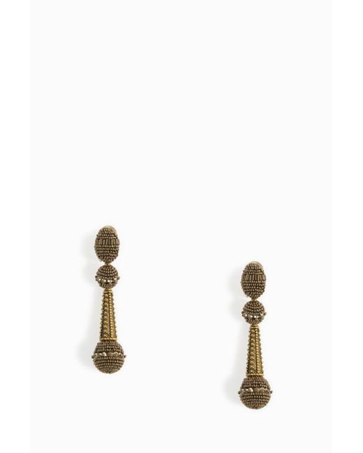 Oscar de la Renta | Metallic Beaded Drop Earrings | Lyst