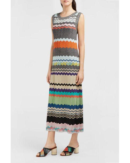 Missoni | Multicolor Lurex Zig-zag Knit Midi Dress | Lyst