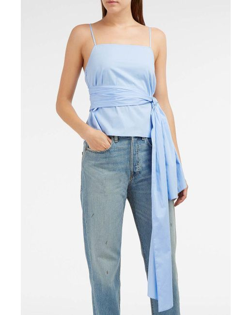Elizabeth and James | Blue Montgomery Wrap-effect Stretch-cotton Top | Lyst