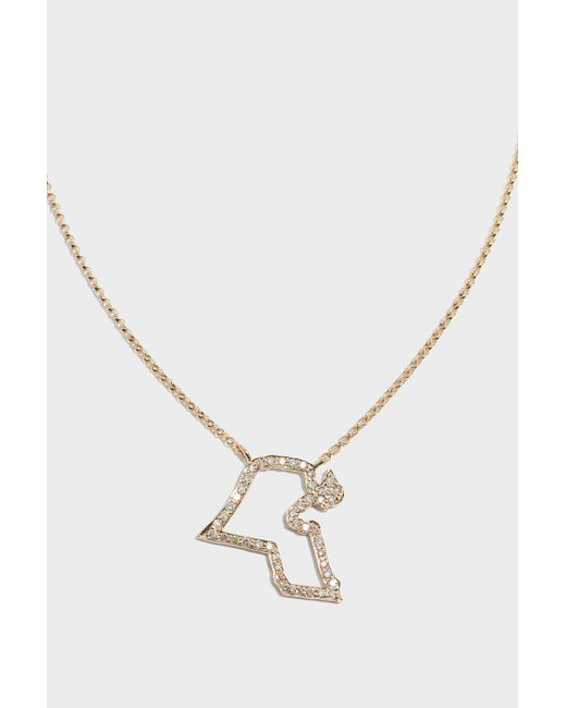 TIBA | Metallic Kuwait Map Outline Necklace | Lyst
