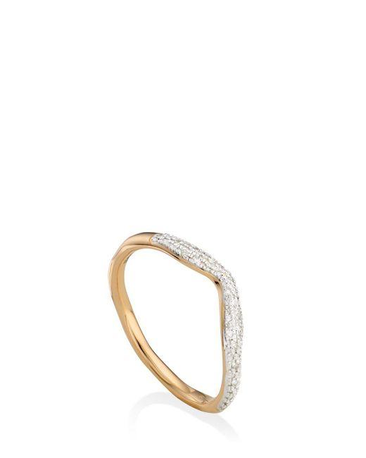 Monica Vinader   Metallic Riva Diamond Wave Ring   Lyst