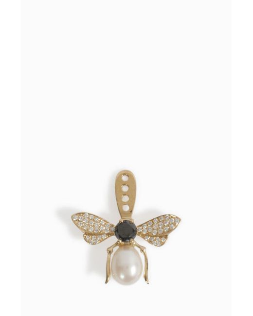 Yvonne Léon - Multicolor Black Diamond Pearl Bee Stud - Lyst