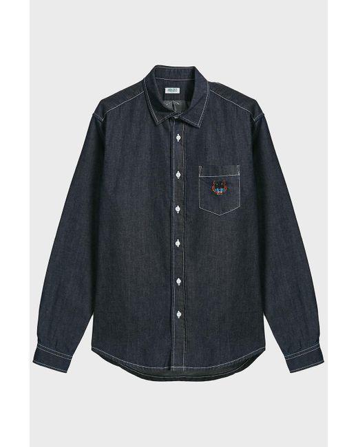 KENZO - Blue Tiger Crest Denim Shirt for Men - Lyst
