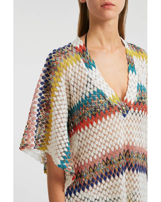 9ec73889a03cc ... Missoni - White Crochet-knit Kaftan - Lyst ...
