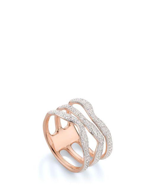 Monica Vinader | Multicolor Riva Diamond Wave Ring | Lyst