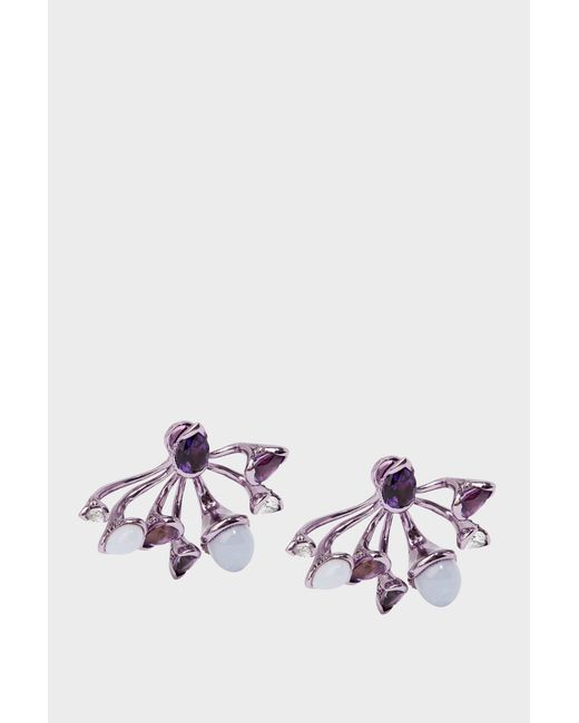 Fernando Jorge - Purple Calyx Lilac-coated 18-karat Gold Diamond, Amethyst And Chalcedony Earrings - Lyst
