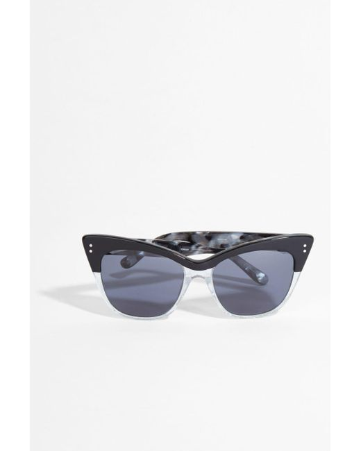 Erdem - Blue Glitter And Black Cat-eye Sunglasses - Lyst