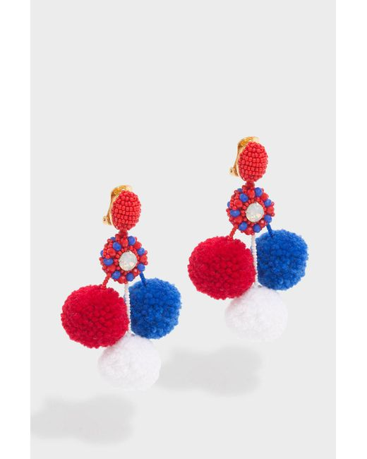 Oscar de la Renta - Red Triple Pompom Earrings - Lyst