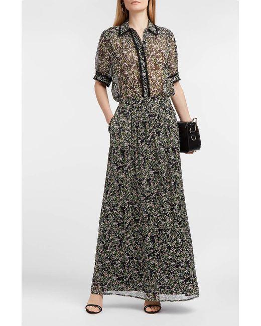 Paul & Joe - Black Imagine Floral-print Silk-georgette Skirt - Lyst