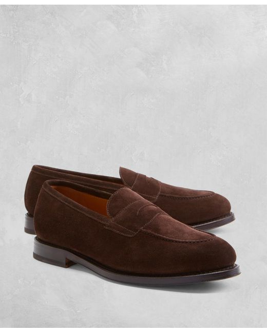 Brooks Brothers - Brown Golden Fleece® Suede Penny Loafers for Men - Lyst