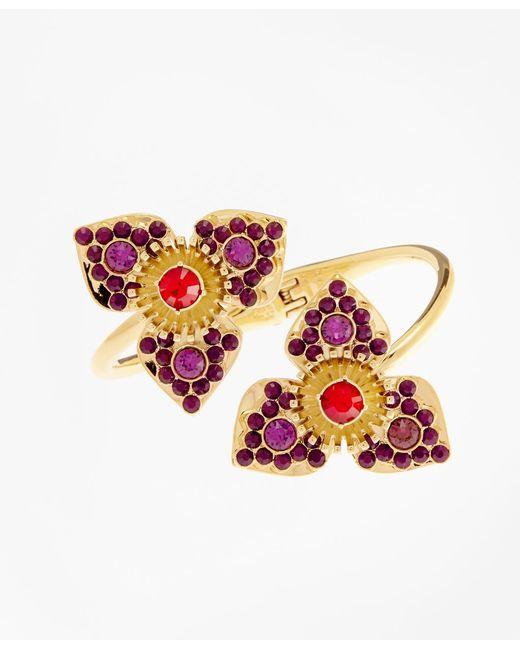Brooks Brothers | Metallic Swarovski Crystal Floral Cuff Bracelet | Lyst