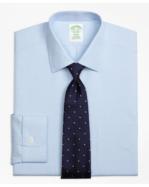 Brooks Brothers - Blue Non-iron Milano Fit Houndstooth Dress Shirt for Men - Lyst