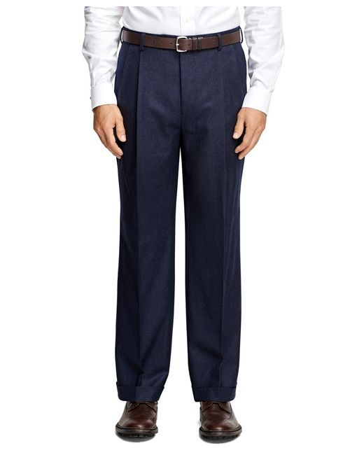 Brooks Brothers | Blue Madison Fit Pleat-front Flannel Trousers for Men | Lyst